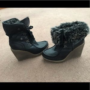 Mossimo Faux Fur Lace-Up Wedges